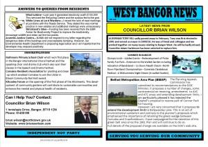 West Bangor News - Councillor Brian Wilson - Summer 2012 Front