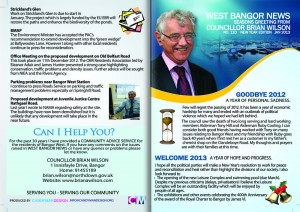 West Bangor News - Councillor Brian Wilson - North Down (Front 110)