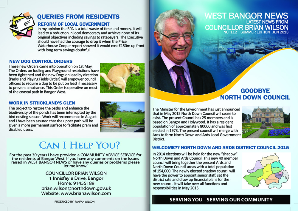 West Bangor News by Councillor Brian Wilson | Bangor West and North Down